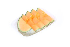 Cantaloupe melon slice isolated Royalty Free Stock Images