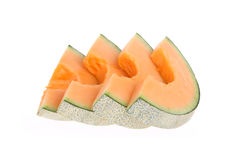 Cantaloupe melon slice isolated Stock Images