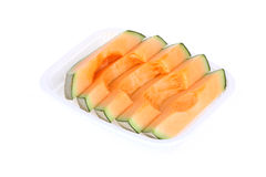 Cantaloupe melon slice isolated Stock Photo