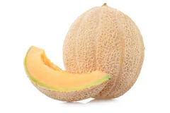 Cantaloupe melon with slice on white Royalty Free Stock Images