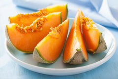 Cantaloupe melon sliced on blue plate Royalty Free Stock Photo