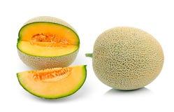 Cantaloupe melon slices isolated on white Royalty Free Stock Photos