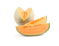 Cantaloupe melon slices. Isolated on a white background royalty free stock images