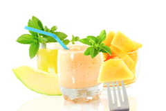Cantaloupe melon smoothie or milkshake with fruit and stevia Stock Image