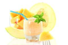 Cantaloupe melon smoothie or milkshake with fruit and stevia Stock Photography