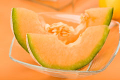 Cantaloupe Melon Wedges Stock Photo