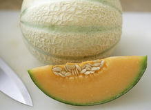 Cantaloupe melon. On white background Stock Photo