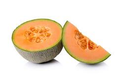 Cantaloupe melon  on white background Royalty Free Stock Photo