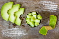 Cantaloupe melon. On wooden background Stock Image
