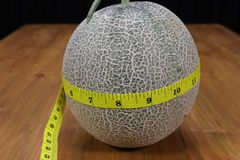 A cantaloupe and a measuring tape Royalty Free Stock Photo