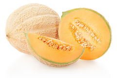 Cantaloupe melons group on white Royalty Free Stock Photography