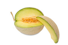 Cantaloupe melons with slices ready to eat Stock Photos