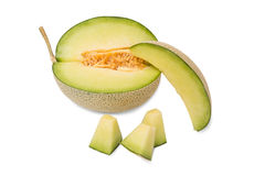 Cantaloupe melons with slices ready to eat Royalty Free Stock Images