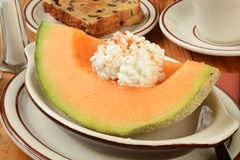 Cantaloupe with raisin toast Royalty Free Stock Images