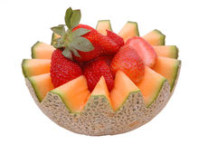 Cantaloupe and strawberries 2 stock photos