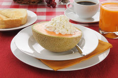 Cantaloupe with toast and coffee Stock Photo