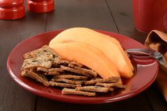 Cantaloupe with toast Royalty Free Stock Photo