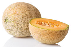 Cantaloupe Whole With Half Slice Stock Images