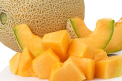 Cantaloupe Whole With Cubes And Slices Royalty Free Stock Image