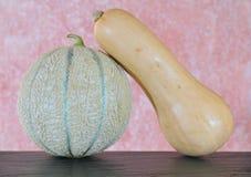 Cantaloupe and winter squash. Stock Image
