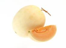 Cantaloupemelon som isoleras på vitbakgrund Royaltyfri Foto