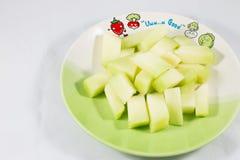 Cantaloupmelon på maträtt Royaltyfria Foton