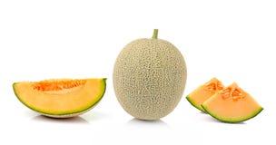 Cantaloupmelonmelon   på vit bakgrund Fotografering för Bildbyråer