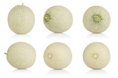 Cantaloupmelonmelonsamling på vit bakgrund Med den snabba banan Arkivfoto