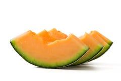 Cantaloupmelonmelonskivor Fotografering för Bildbyråer