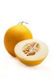 Cantalupo amarelo no fundo branco Fotografia de Stock