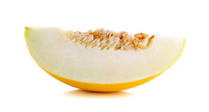 Cantalupo giallo isolato sui precedenti bianchi Immagini Stock Libere da Diritti