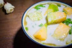 Cantalupo, leche de coco Lod Chong Foto de archivo libre de regalías