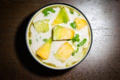 Cantalupo, leite de coco Lod Chong Imagem de Stock