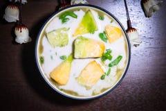 Cantalupo, leite de coco Lod Chong Fotos de Stock Royalty Free