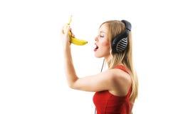 Cantando a banana Imagem de Stock