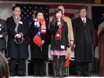 Cantando o hino nacional chinês Imagem de Stock Royalty Free