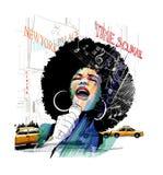 Cantante afroamericano di jazz a New York illustrazione vettoriale