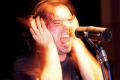 Cantante aggressivo in studio Fotografie Stock Libere da Diritti