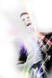 Cantante cobarde de la guitarra Imágenes de archivo libres de regalías