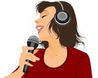Cantante con il microfono illustrazione di stock