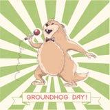 Cantante de la marmota con el micrófono Día de Groundhog Imagen de archivo libre de regalías
