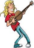 Cantante de roca de la historieta con la guitarra Foto de archivo