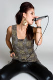 Cantante de sexo femenino de Rockstar Fotografía de archivo
