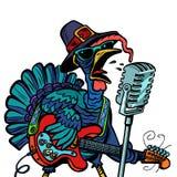 Cantante del carattere della Turchia di ringraziamento Isolato su backgroun bianco illustrazione di stock