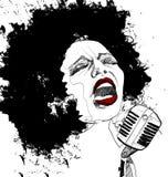 Cantante del jazz en el fondo blanco libre illustration