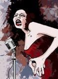 Cantante del jazz en fondo del grunge stock de ilustración