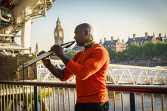 Cantante del musicista della via Fotografie Stock Libere da Diritti