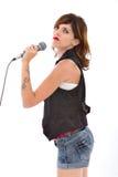 Cantante della donna con il mic Immagine Stock
