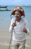 Cantante della spiaggia nel Brasile di nordest Fotografia Stock