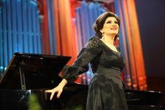 Cantante di Dinara Aliyeva. Concerto di musica classica nel conserv di Mosca Immagini Stock Libere da Diritti